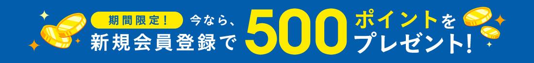 今なら会員登録で500ptプレゼント!!